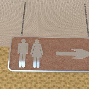 Biển treo trần chỉ dẫn WC