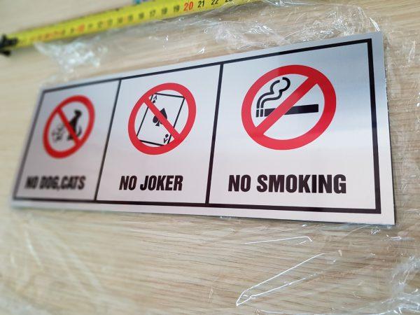 biển cấm chó mèo, cấm đánh bài, cấm hút thuốc