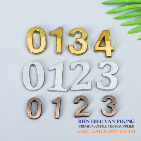 Chữ Số mạ Crome dùng cho biển khách sạn, bảng số phòng, bảng nhà nghỉ, bảng số tầng, bảng thang máy